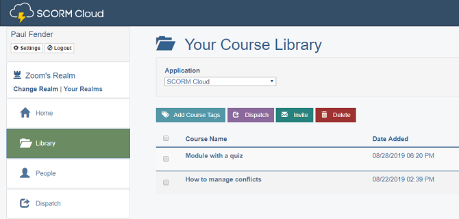 SCORM Cloud course library
