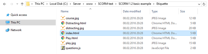 index.html file in an extracted SCORM package