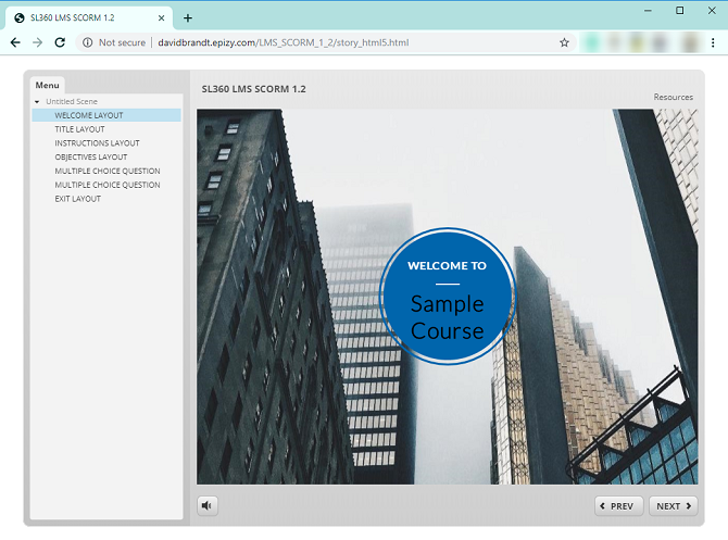 SCORM course uploaded to a website