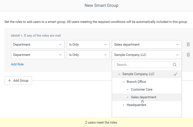 Smart groups in iSpring Learn LMS