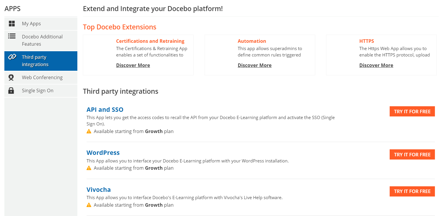Integrations in Docebo LMS