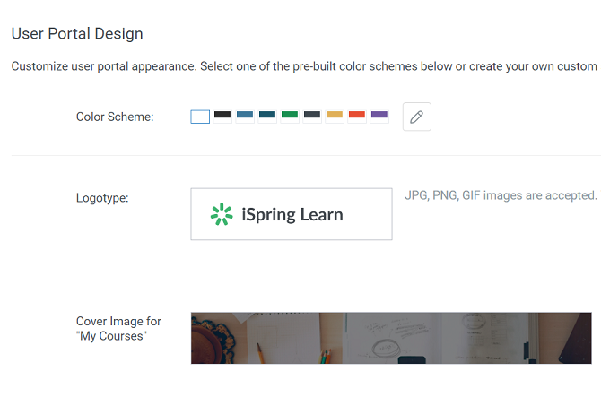 User portal design in iSpring Learn LMS