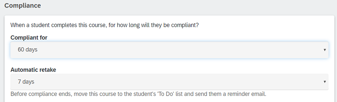 Compliance settings in Litmos LMS
