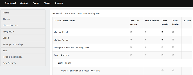 Roles and permissions in Litmos LMS