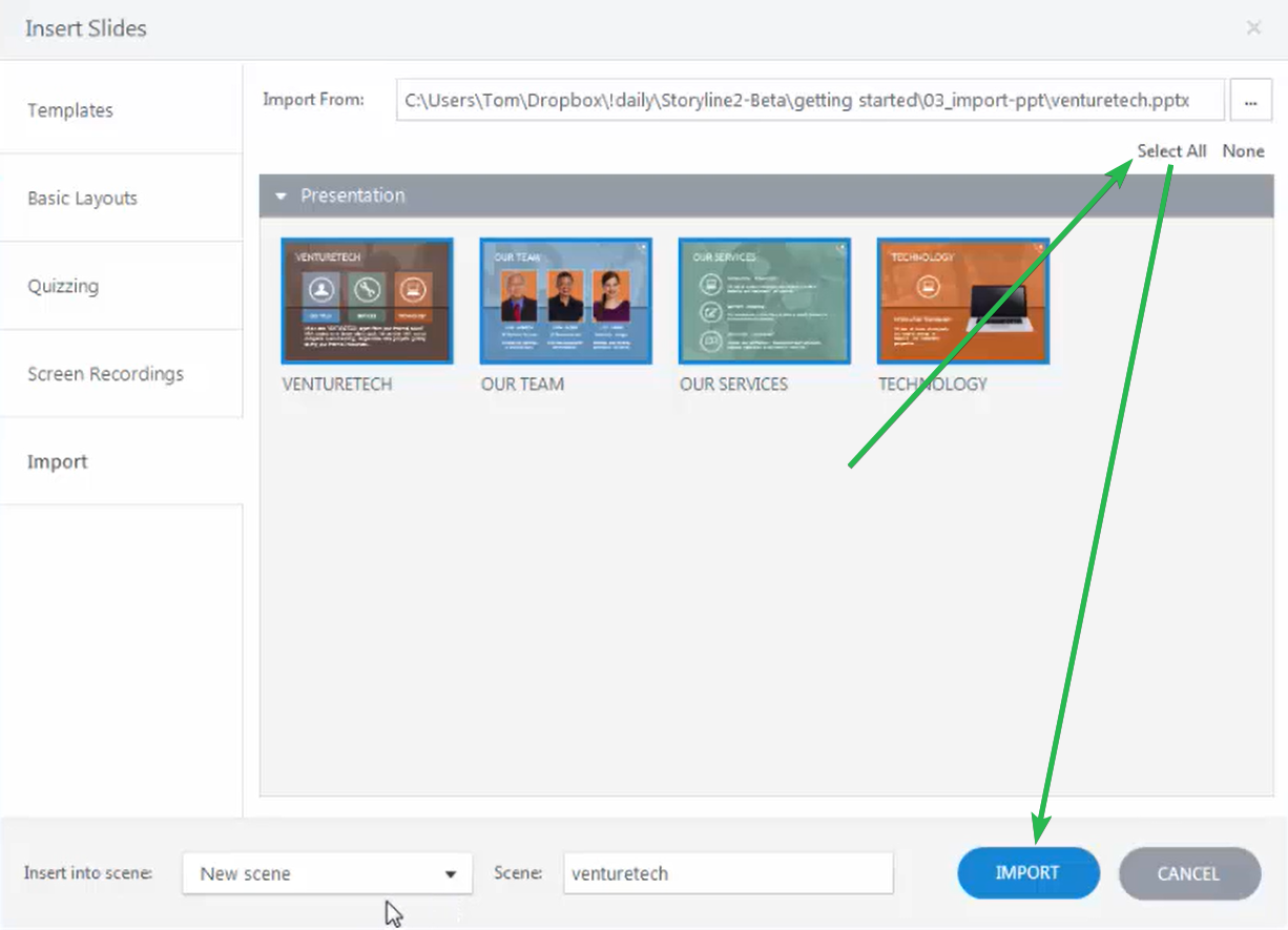 Inserting slides in Articulate Storyline