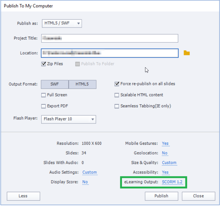 Publishing a SCORM course in Adobe Captivate