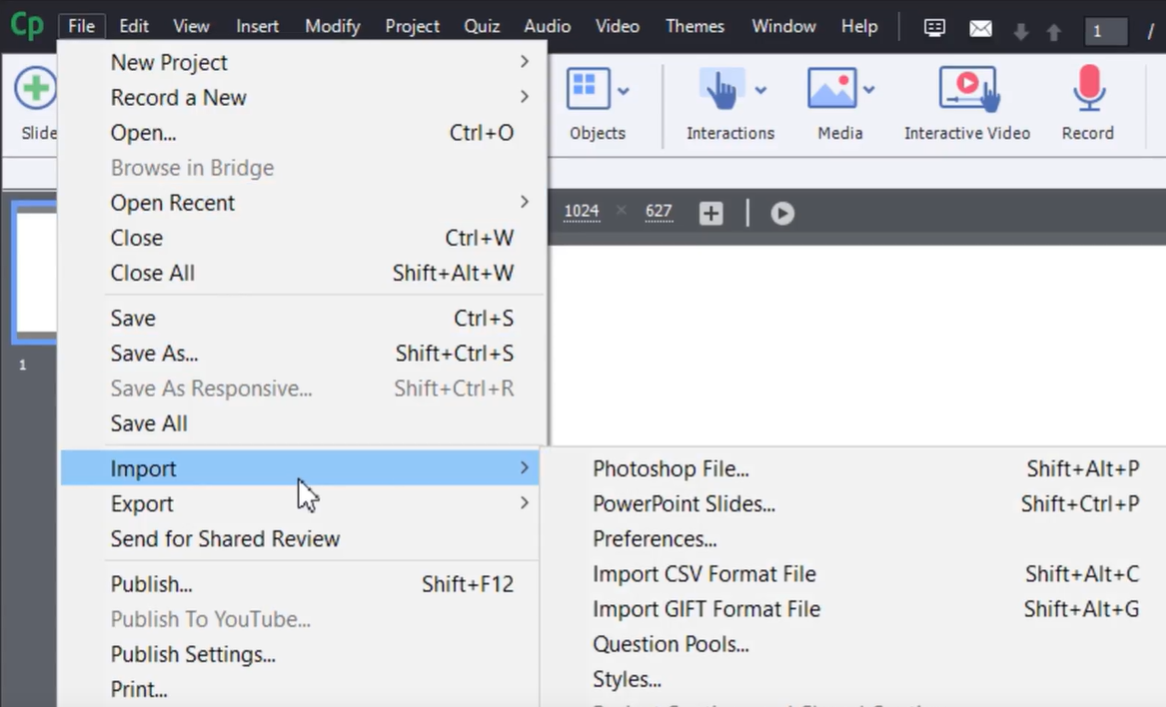 Importing PowerPoint slides in Adobe Captivate