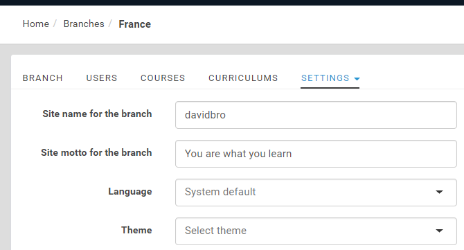 Setting branches in eFront LMS