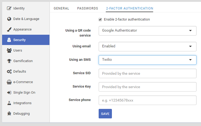Security features in eFront LMS