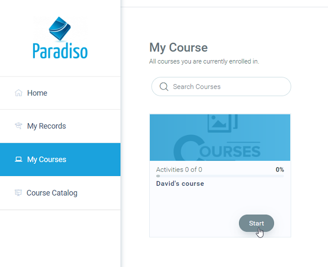 My courses in Paradiso LMS