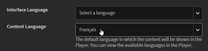 Choosing a language in Captivate Prime LMS